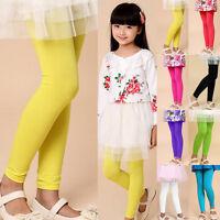 Plain Children Girls Stretch Leggings Full Length Summer Dancing Trousers Pants