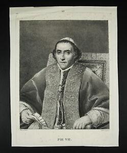 Pope-Pie-VII-Dad-Engraving-c1800-Josef-Langlume-Sc-Print-Jacques-Louis-David