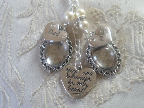 Vintage Inspired Ivory /& Crystal Mum /& Dad Bouquet Photo Charm Wedding//Bridal