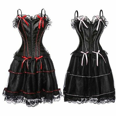 Black Gothic Gown Corsets Lace Fairy Tale Bustier Basque Burlesque Corset Dress