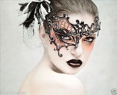 Venetian Phantom Laser Cut Masquerade Black Metal Filigree Party Ball Mask M