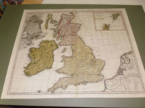100% ORIGINAL LARGE ENGLAND AND WALES MAP BY HOMANNUM C1729