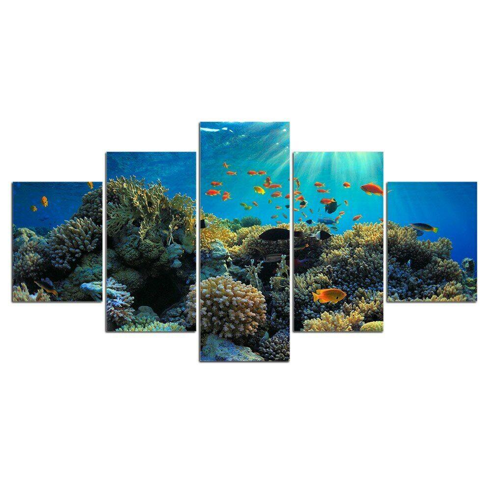 Coral Reef Fish Life 5pcs Poster Canvas Wall Decor Home Decor Canvas Print