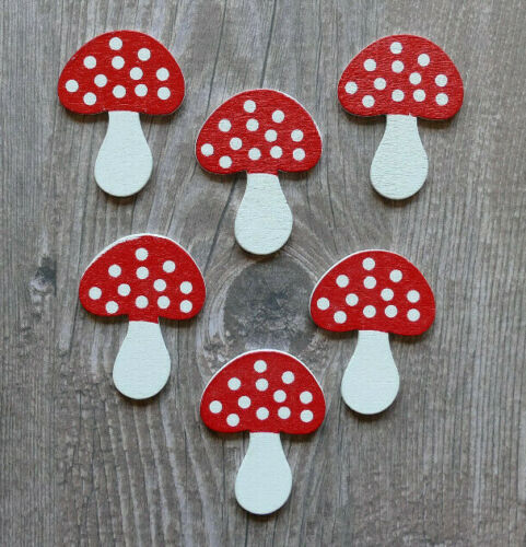 New Pack of 6 Wooden Toadstool mushroom craft shapes card topper embellishment