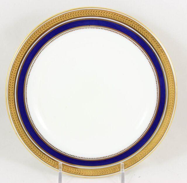 HTF SET 6 LUNCHEON PLATES CAULDON L4145 COBALT BLUE RAISED GOLD ENCRUSTED LAUREL