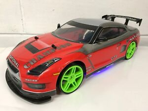 Large Nissan Gtr 4wd Drift Rc Remote Control Car 1 10 Rechargeable