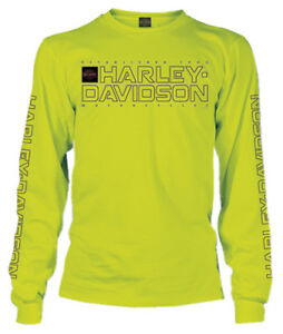 Harley-Davidson-Men-039-s-Shakedown-H-D-Long-Sleeve-Crew-Neck-Shirt-Safety-Green