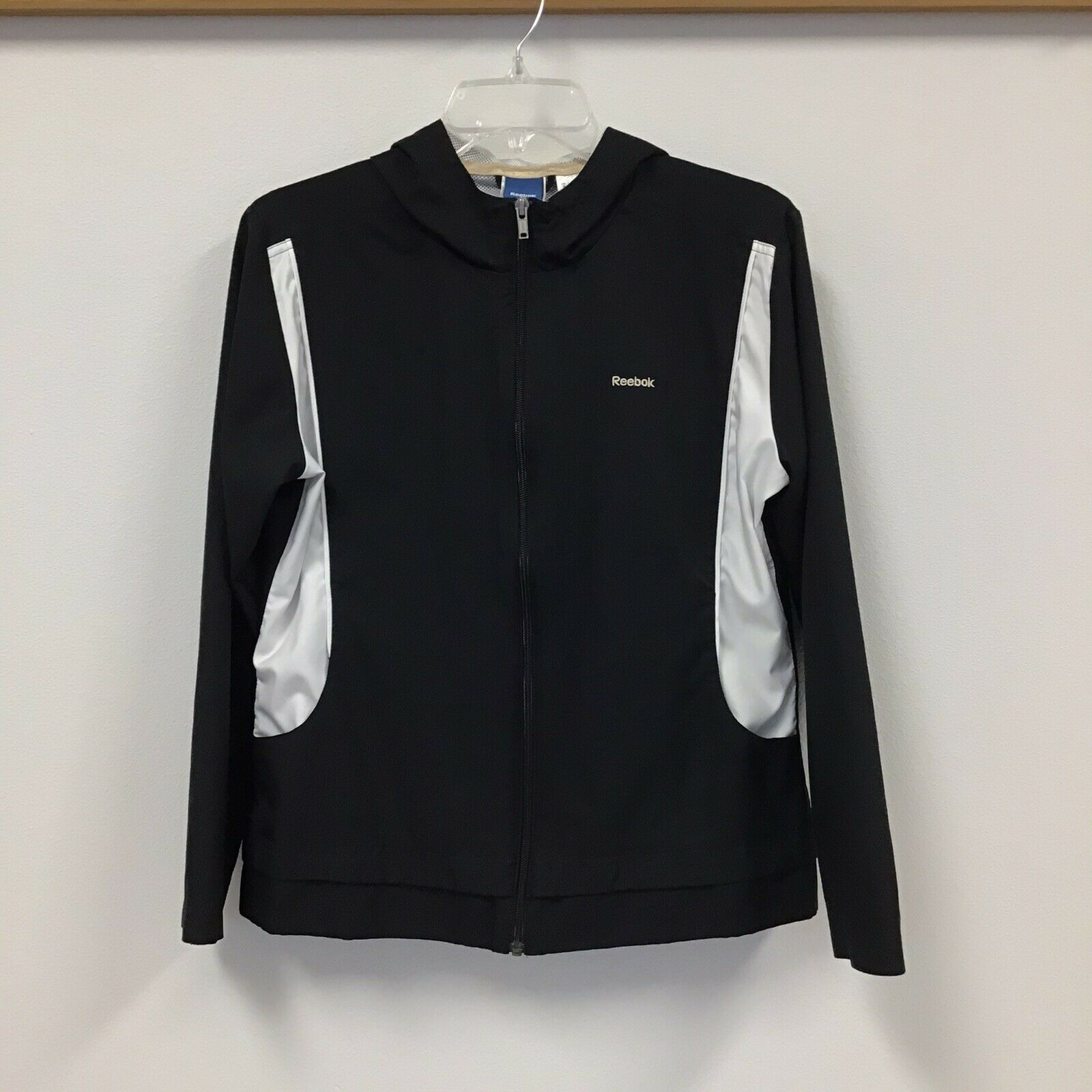 Reebok Womens Black And White Zip Front Hooded Lined Windbreaker Size M