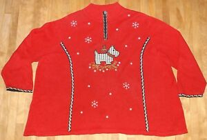 Mens Womens Ugly Christmas Sweater Scottie Dogs Scottish Terriers