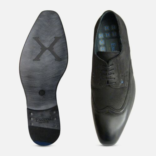 Scarpe firmate uomo da stringate Exceed cerate nere qfwpqTXr