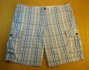 Dockers 42 Para Hombre Cargo Frente Plano Azul A Cuadros A Cuadros Beige Algodon Pantalones Cortos Ebay