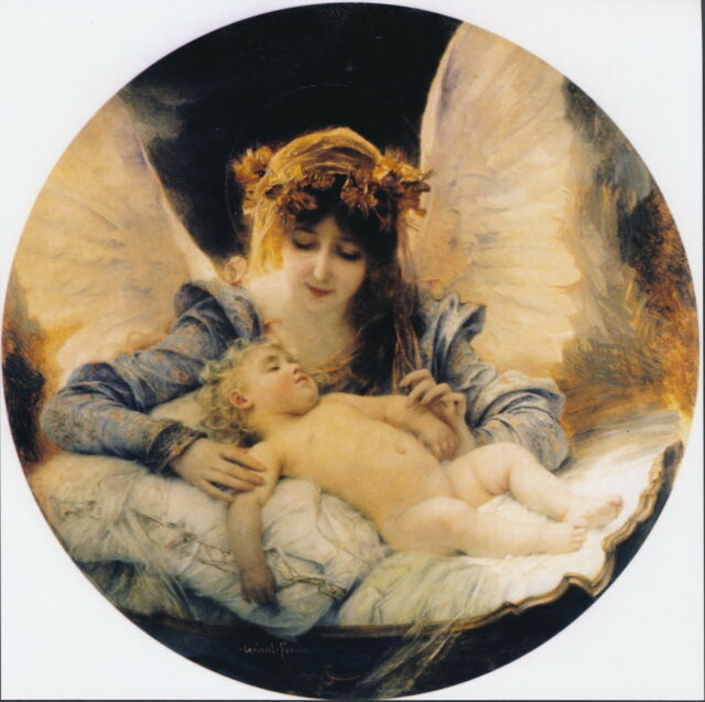 8x8 Ferrier Print Christian Portrait Guardian Angel Watching Over Sleeping Baby