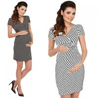 Zeta Ville - Women's Maternity Short Sleeves Empire Dress Wrap V-neckline - 018c
