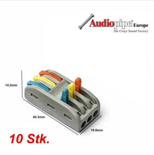 10 Verbindungsklemme INLINE Abzweigverbinder Steckklemme Wagoklemme 3x4mm Hebel