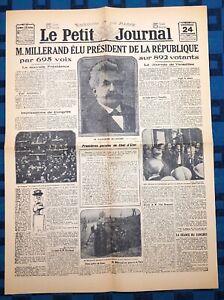 La-Une-Du-Journal-Le-Petit-Journal-24-Sept-1920-Election-Alexandre-Millerand