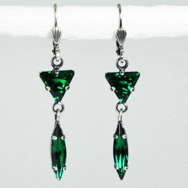 Grevenkämper Ohrringe Swarovski Kristall Silber Dreieck Navette grün Emerald