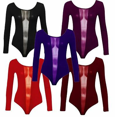 Neue Frauen Plus Size V-mesh-front Trikot Langarm-body 44-50