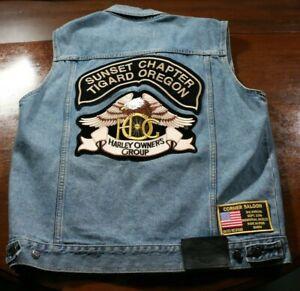 Vintage Harley Davidson Motorcycles Owners Group Denim Vest Pins Patches Oregon