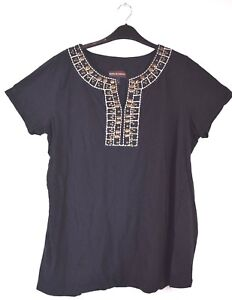 Dana-Buchman-Women-039-s-XL-V-Neck-Short-Sleeve-Casual-Shirt-Top-Black