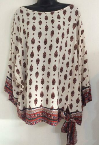 Ex Ladies Size:S//M//L//XL Cream Paisley Drop Border Hem Side Tie Up Blouse Top