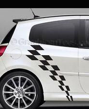 Clio Car Body Stickers Racing Checker Flag Side Stripe Vinyl Graphic Decals