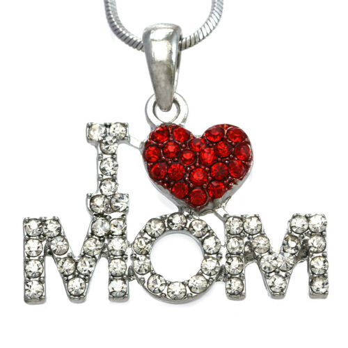 I Love You Mom Red Heart Pendant Necklace Mothers day gifts valentines Jewelry