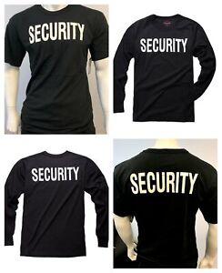 Mens-Womens-Army-Style-Security-Uniform-Black-Top-Short-Long-Sleeve-T-shirt-Tee
