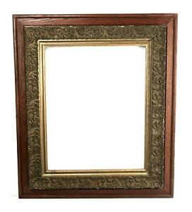 Antique-19th-C-Victorian-Oak-Wood-and-Gold-Ornate-Gesso-Picture-Frame-Fits-20x16
