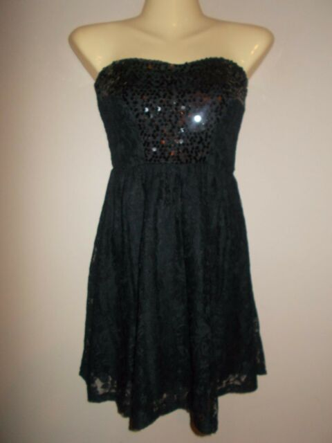 Wet Seal Nwt Sequined Lace Black Strapless Evening Mini Dress