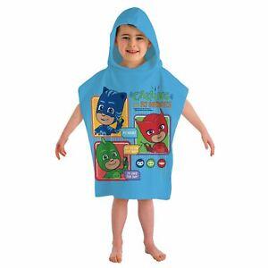 Enfants-Pj-Masks-Calling-All-Heroes-Poncho-a-Capuche-Serviette-Bleu-Clair