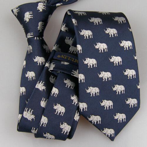 Lammulin Navy W Argent Liens rhinocéros motif cravate Jacquard Skinny Tie 7 cm