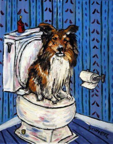 Shetland Sheep shelty dog in the bathroom  dog art print gift gifts 8x10