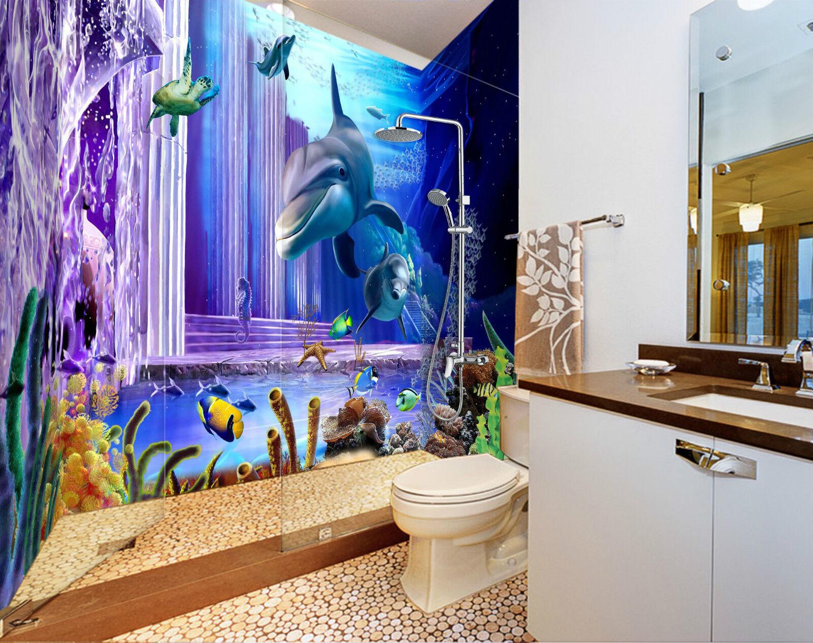 3D Ocean Dolphins 094 WallPaper Bathroom Print Decal Wall Deco AJ WALLPAPER CA