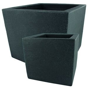 2er set pflanzk bel blumenk bel kubus pflanzgef kunststoff anthrazit 2 gr en ebay. Black Bedroom Furniture Sets. Home Design Ideas