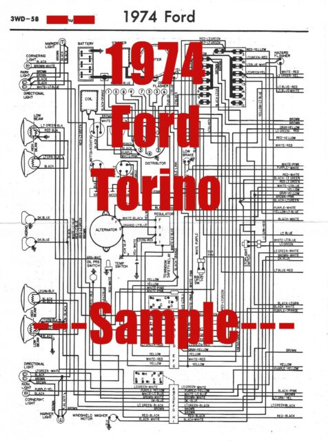 1974 Ford Torino Full Car Wiring Diagram  High Quality