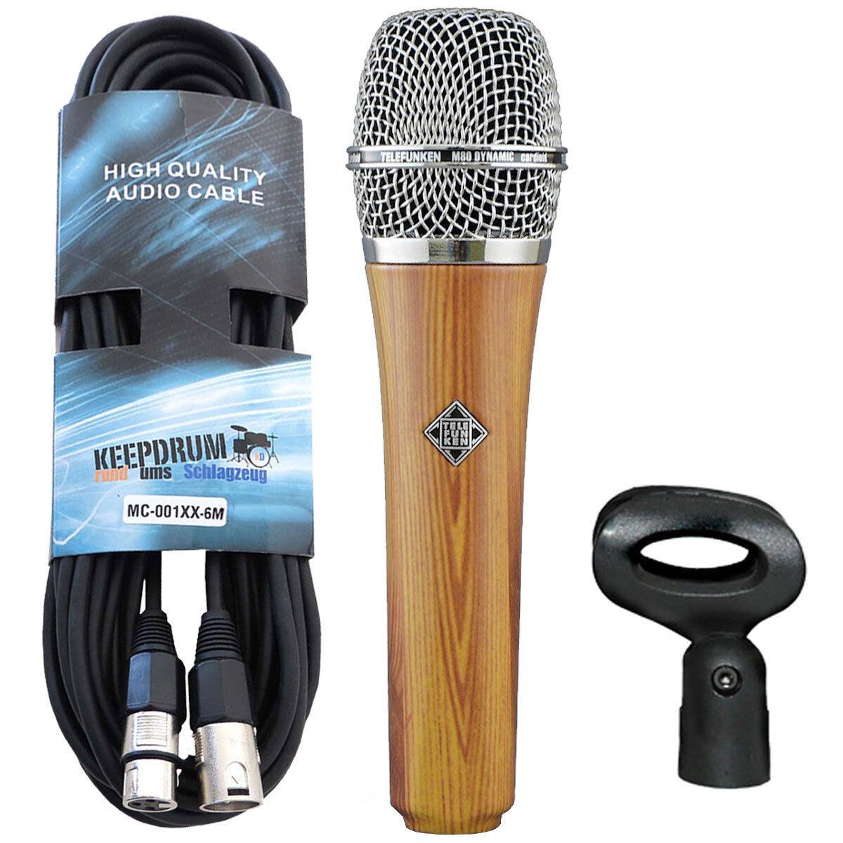Telefunken M80 oak Dynamic Microphone + Keepdrum XLR Cable 19.7ft