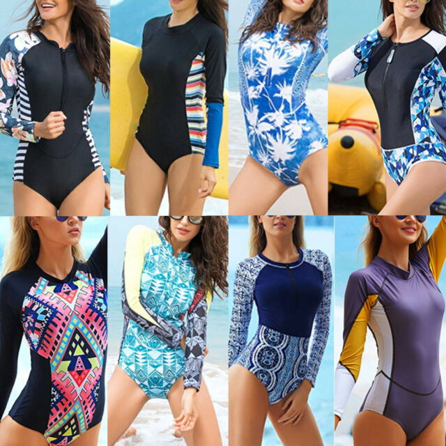 521e7a03021 Women Long Sleeve Surfing Diving Swimsuit One Piece Beach Bathing Suit  Swimwear