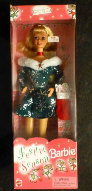 1997 Mattel Festive Season Barbie - NIB  Christmas Holiday snowflakes F/S