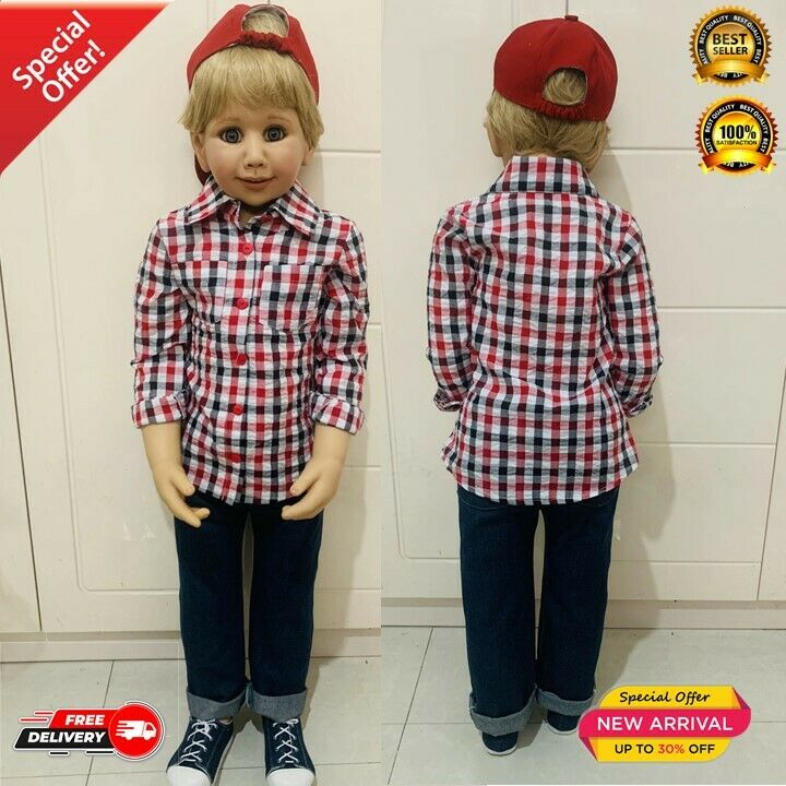100CM Vinyl Toddler Boy Doll Toy Like Real 3-year-old Size Child Clothing Photo