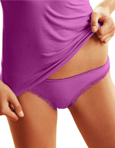 B TEMPT/'D by WACOAL THONG PANTIES cotton//modal w LACE 976256 PURPLE BRAND NEW