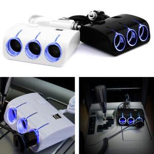 3-Way-Splitter-Car-Cigarette-Lighter-Socket-Adapter-Charger-DC-12V-2-USB-Port