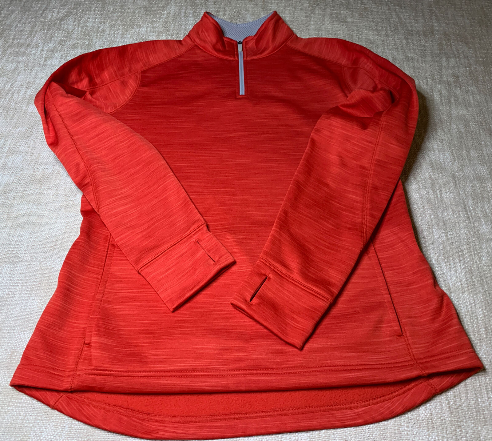 Majestic Fitted Jacket Sz L THERMABASE MLB 1/4 Zip Long Sleeve ThumbSlits Red
