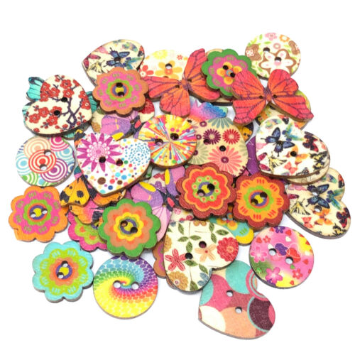 40 Mix Natural Floral Shabby Chic Wood Buttons Craft Cardmaking Embellishments