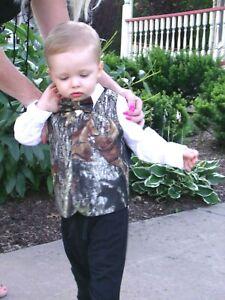 Details about New Mossy Oak Break Up Camo Formal or Wedding Full Back  Children kids Vest w tie