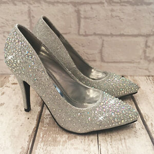 ladies silver sparkly shoes