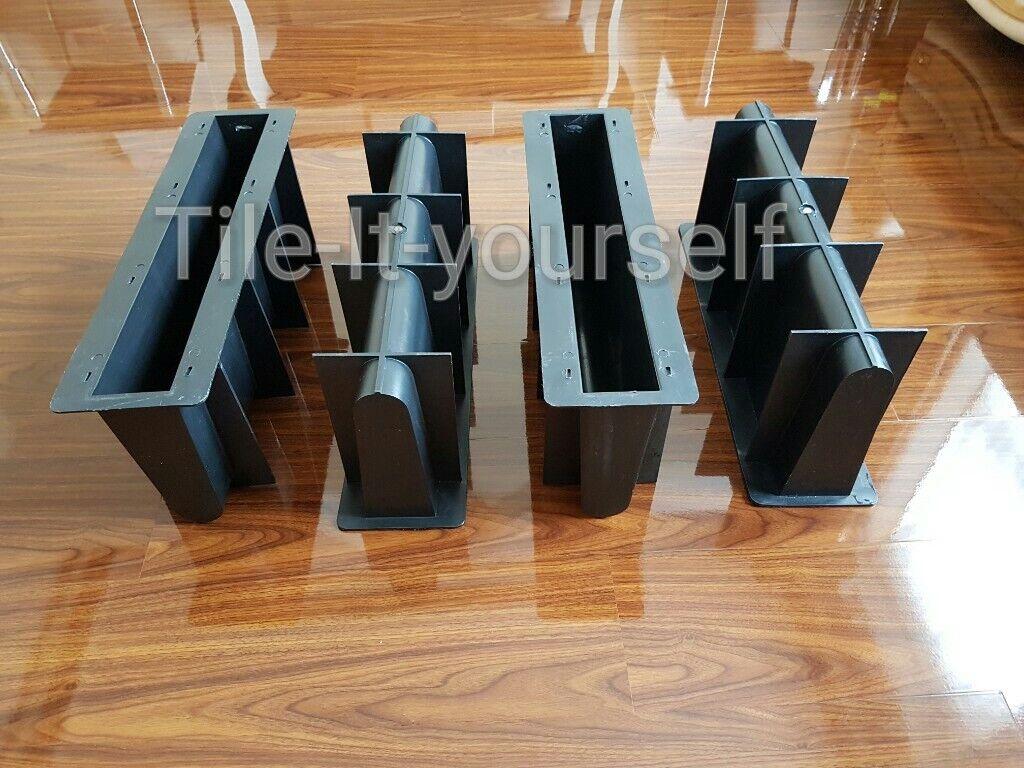 Conjunto de 4  Molde de hormigón ribete de doble Recto Jardín Divisor Flor arreglador