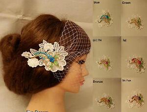 Boho-Gatsby-Wedding-Lace-Flower-Crystal-Hair-Clip-Bridal-Blusher-Birdcage-Veil