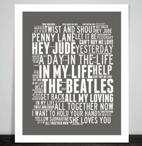 The Beatles Art Print Typography Song Music Titles Lyrics In My Life Portrait