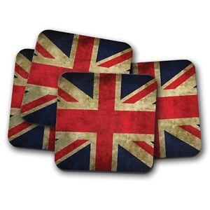 4-Set-Distressed-Union-Jack-Coaster-Flag-United-Kingdom-UK-EU-Fun-Gift-8887