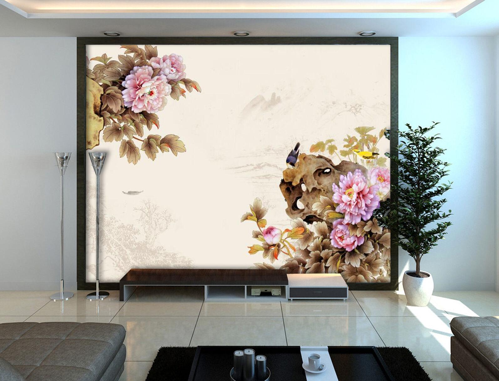 3D Peony, bird 232 Wall Paper Wall Print Decal Wall Deco Indoor Wall Murals